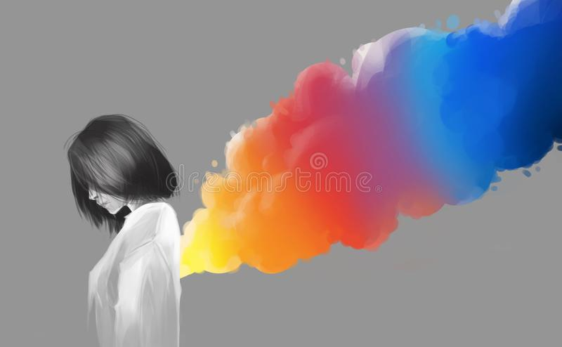 Asian beautiful girl and colorful smoke flare, digital illustration art painting style. vector illustration