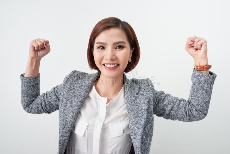 Asian beautiful girl feel happy. smiling woman show hand up successful sign action.  royalty free stock photo