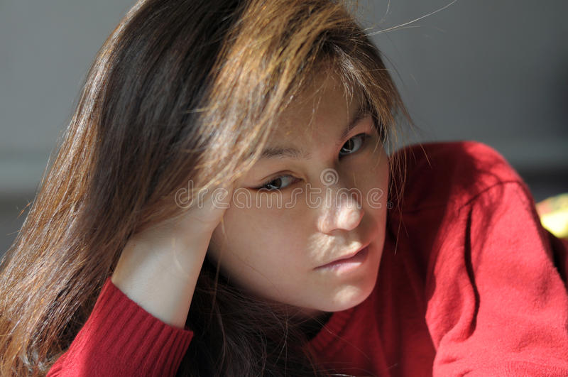 Asian beautiful girl portrait. Looking straight at camera stock photography