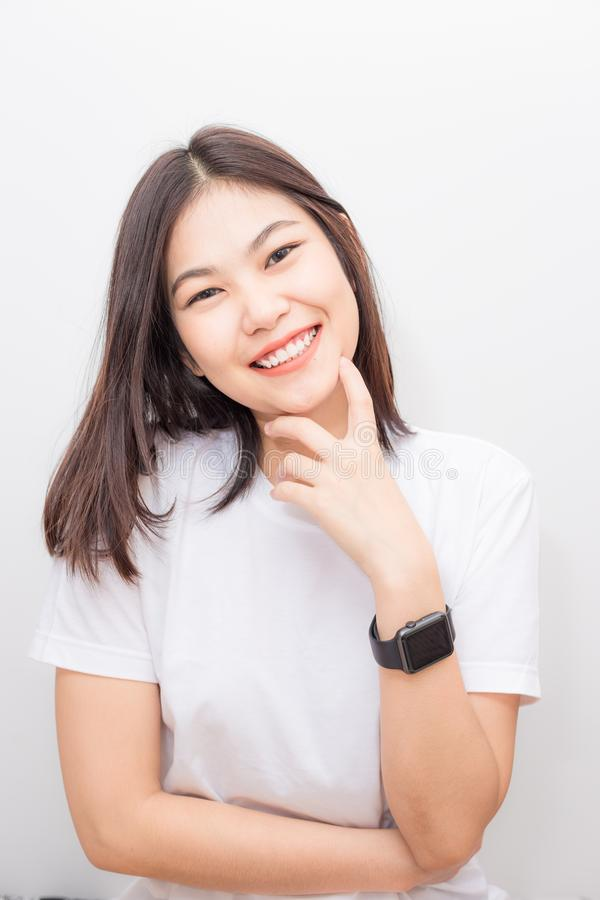 Asian beautiful smiling women portrait on white background stock images
