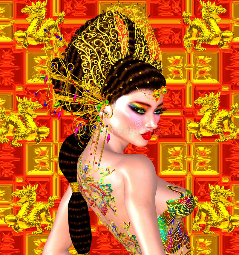 Asian beautiful woman, dragon tattoo on her back, colorful makeup and bra. stock photo