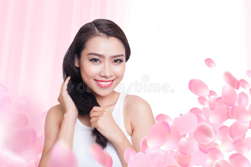 Asian beautiful woman skin care. Attractive asian woman skin care image royalty free stock photography