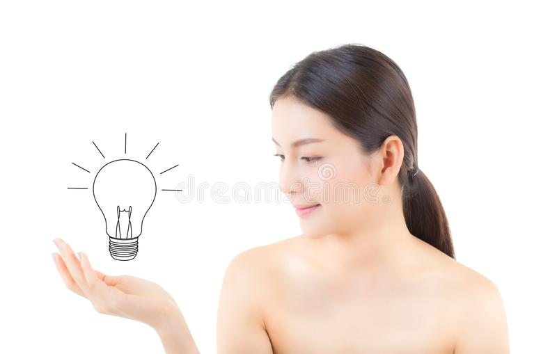 Asian beautiful woman smile hand holding with drawing light bulb stock images