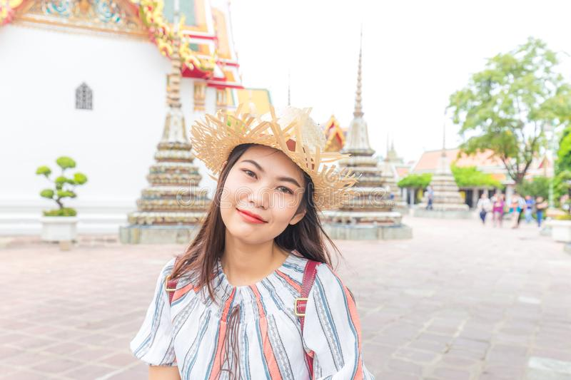 Asian beautiful women travel in buddha temple Wat Pho stock photos