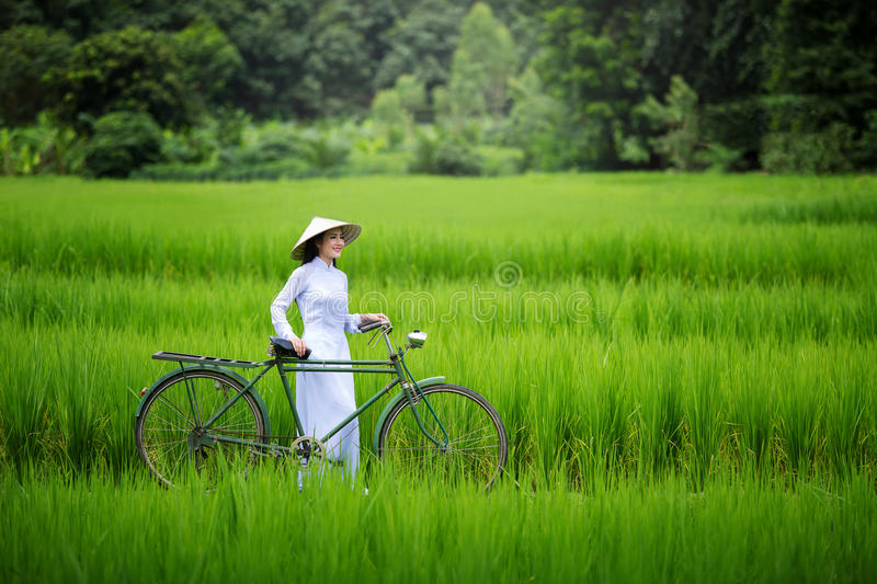 Asian beautiful woman with Vietnam culture traditional in green stock photography