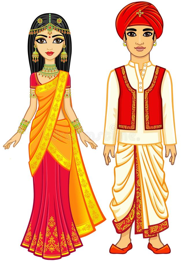 Asian beauty. Animation Indian family in traditional clothes. stock illustration