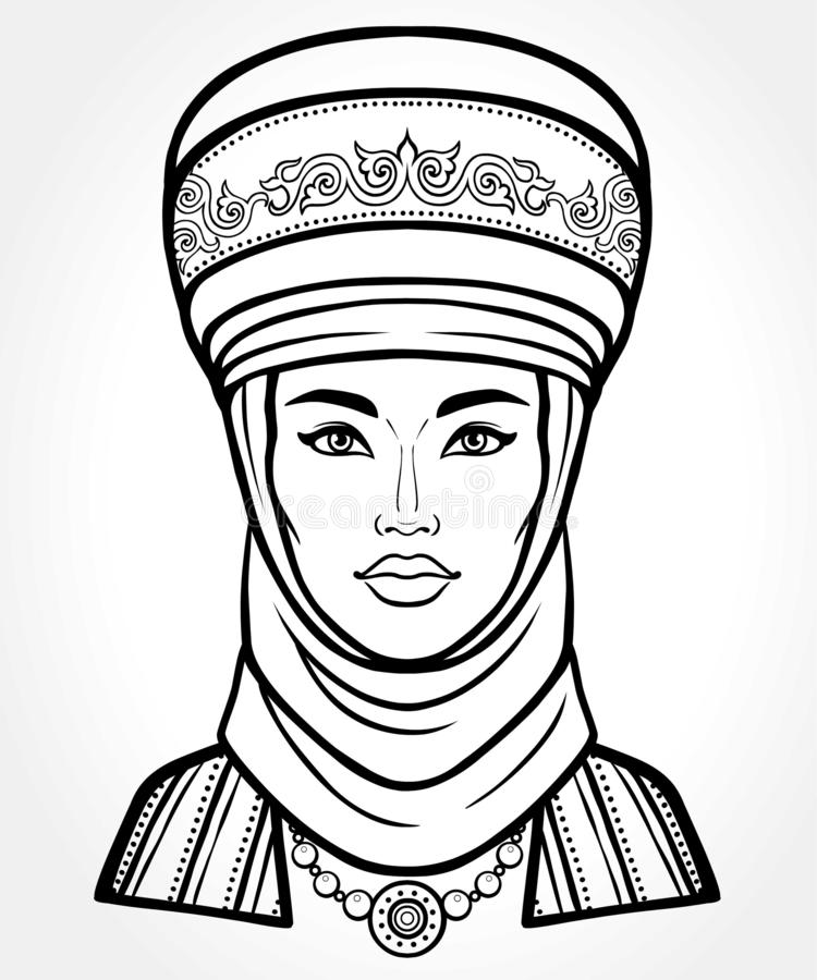 Asian beauty. Animation portrait of a beautiful girl in ancient national turban. Married woman `s headdress stock illustration