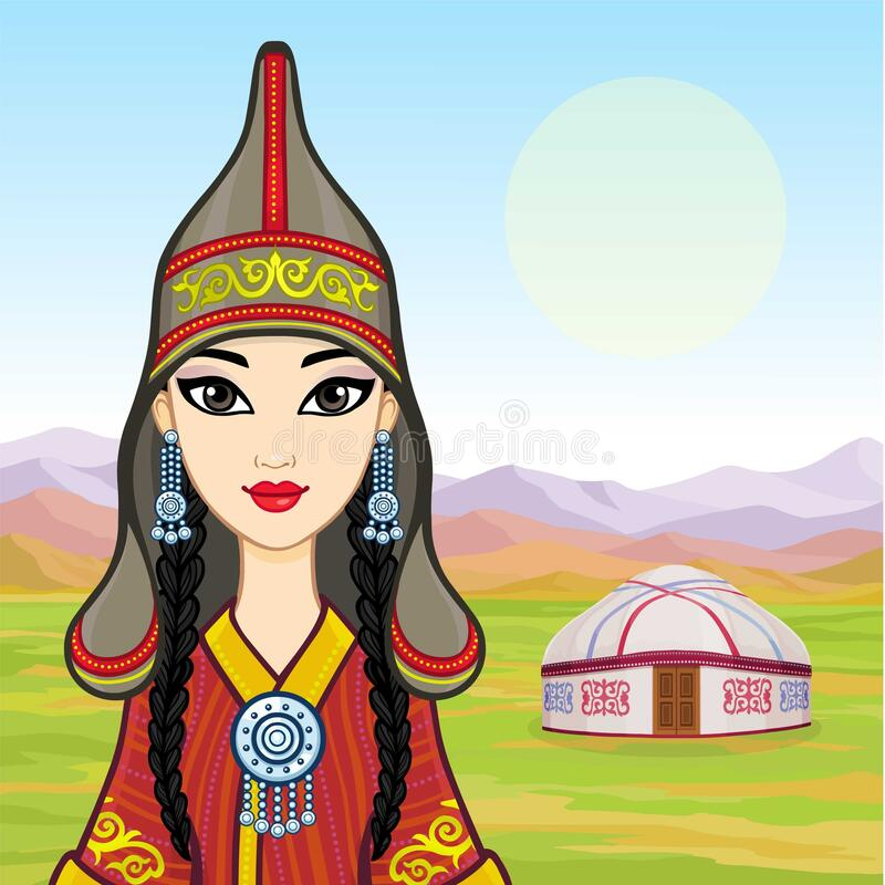 Free Asian Beauty. Animation Portrait Of A Beautiful Girl In Ancient National Cap And Jewelry. Central Asia. Royalty Free Stock Photo - 180344635