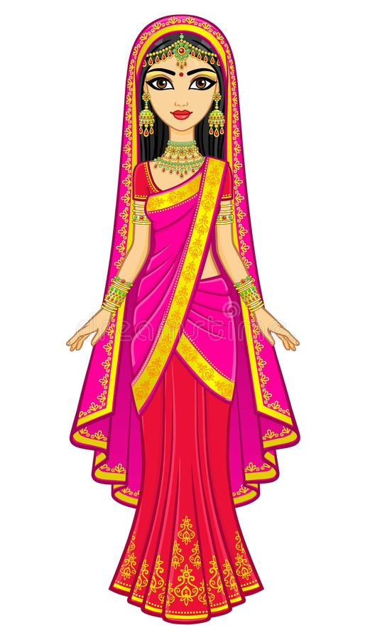Asian beauty. Animation portrait of the young Indian girl in traditional clothes. Fairy tale princess. stock illustration