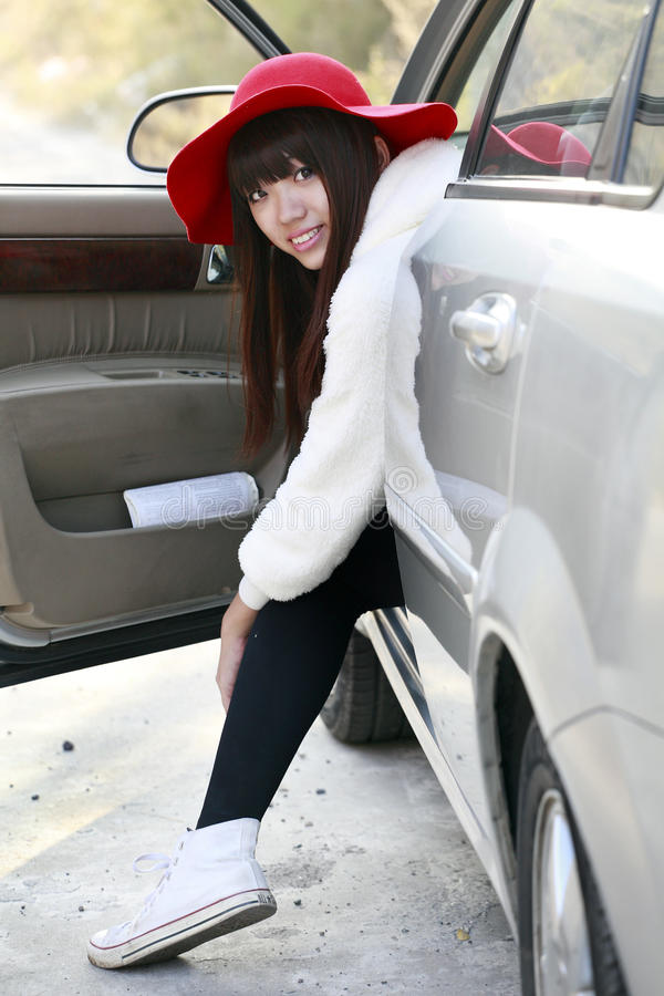 Asian beauty in the car