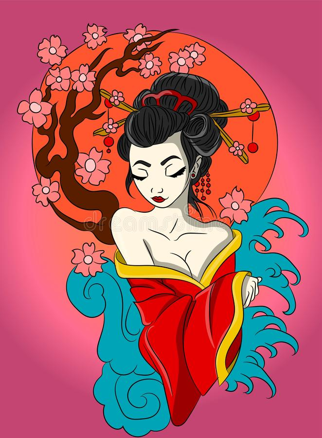 Asian beauty, chinese/japanese woman near a sakura tree with flowers and a full orange moon illustration. Oriental girl in a tradi stock illustration