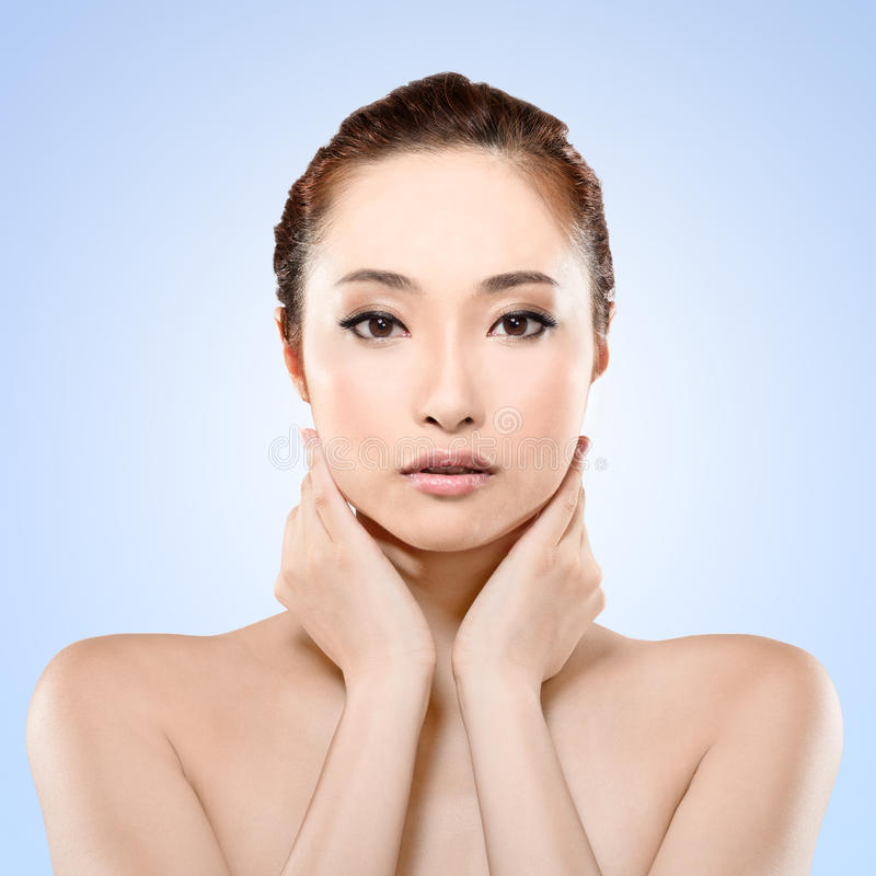 Asian beauty. Face, closeup portrait with clean and fresh elegant lady stock photos