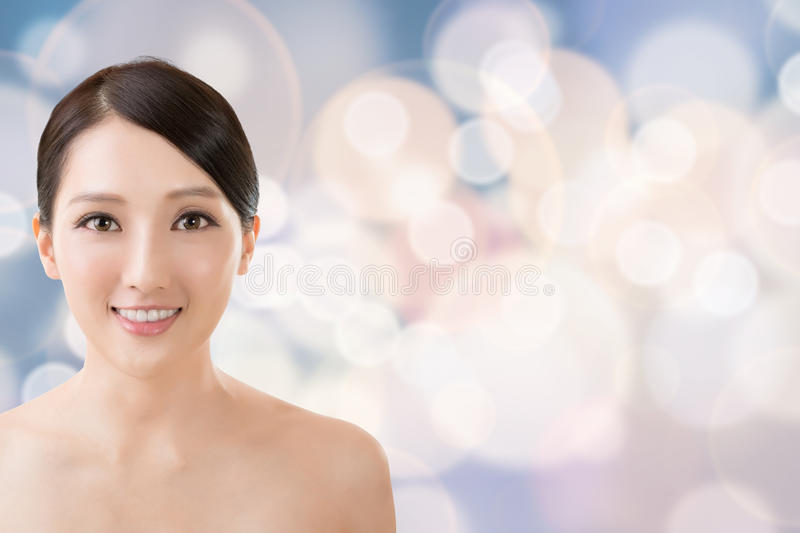 Asian beauty face. Closeup portrait with clean and fresh elegant lady stock images