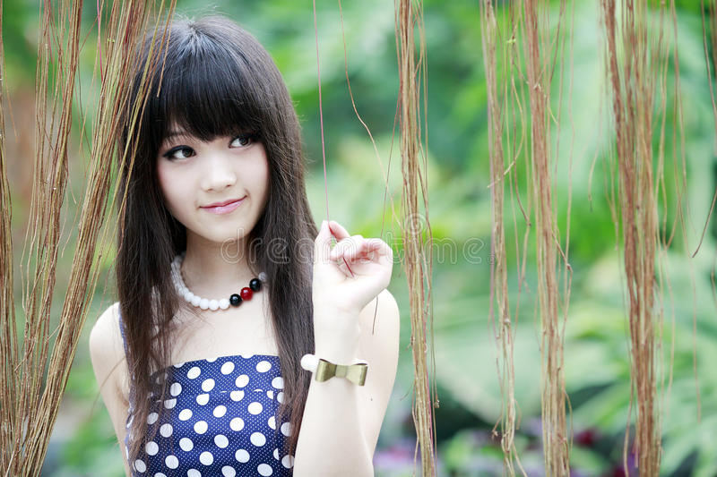 Asian beauty in the garden stock photography