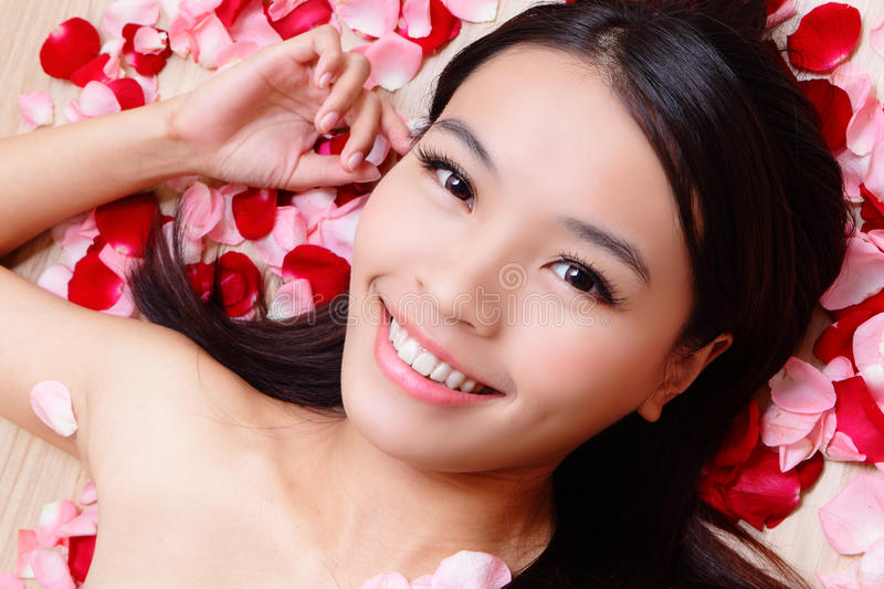 Download Asian Beauty Girl Smiling Close-up With Rose Stock Photo - Image: 22413342