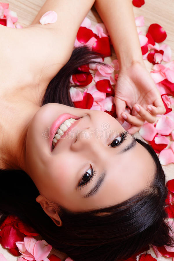 Download Asian Beauty Girl Smiling Close-up With Rose Stock Image - Image: 22413361