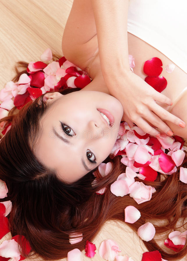 Download Asian Beauty Girl Smiling Close-up With Rose Stock Image - Image: 22594671
