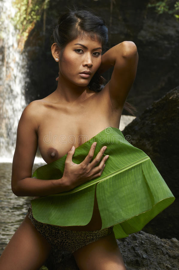 Download Asian Beauty At Jungle Waterfall Stock Image - Image of bikini, foliage: 24232547