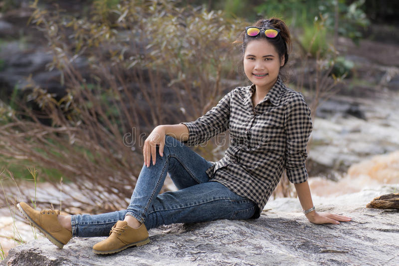 Download Asian Beauty Portrait At Cataract Royalty Free Stock Images - Image: 34512269