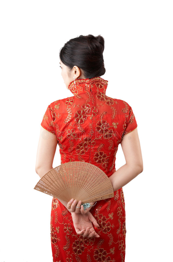 Asian beauty in red stock photography