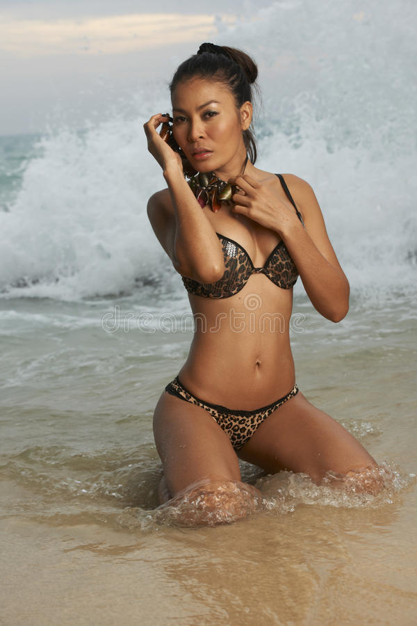 Download Asian Beauty On Sunny Beach Stock Image - Image: 28412781