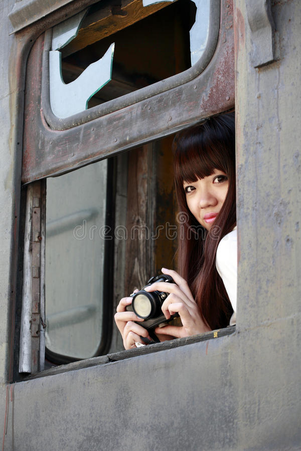 Download Asian beauty on train stock photo. Image of antiqued - 21481818