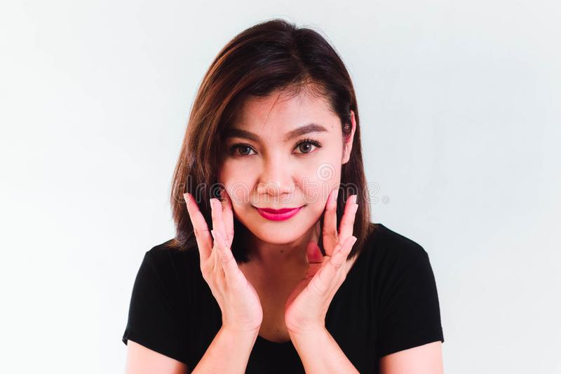 Asian Beauty Woman on White Background stock photo