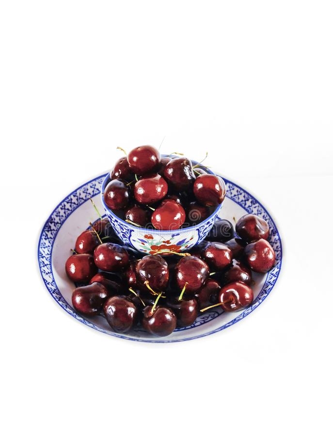 Asian Bowls with Red Cherries stock photography