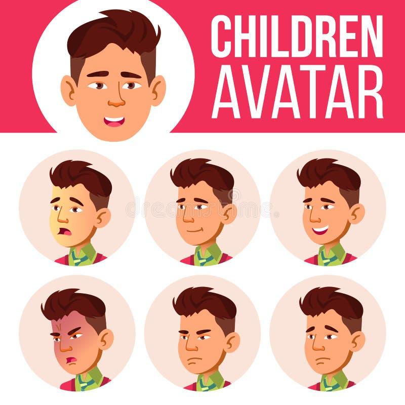 Asian Boy Avatar Set Kid Vector. High School. Face Emotions. Children, Young People. Life, Emotional. Cartoon Head stock illustration