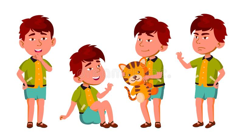 Asian Boy Kindergarten Kid Poses Set Vector. Friendly Little Children. Cute, Comic. For Web, Brochure, Poster Design royalty free illustration
