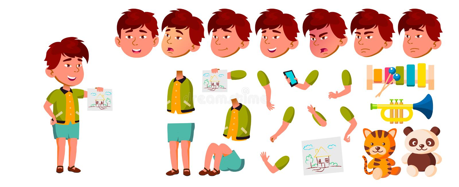 Asian Boy Kindergarten Kid Vector. Animation Creation Set. Face Emotions, Gestures. Playful Positive Small Baby. For Web. Poster, Booklet Design. Animated vector illustration