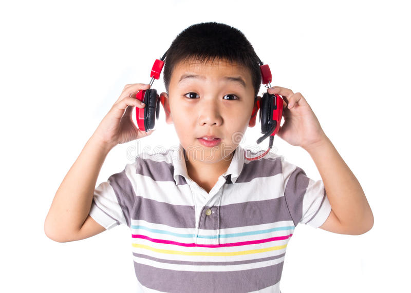 Download Asian Boy Listening Music With Headphones, Isolated On White Background Stock Image - Image of happy, stereo: 49811451