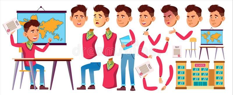 Asian Boy Schoolboy Vector. High School Child. Animation Creation Set. Face Emotions, Gestures. Child Pupil. Class, Desk. For Advertising, Print Design royalty free illustration
