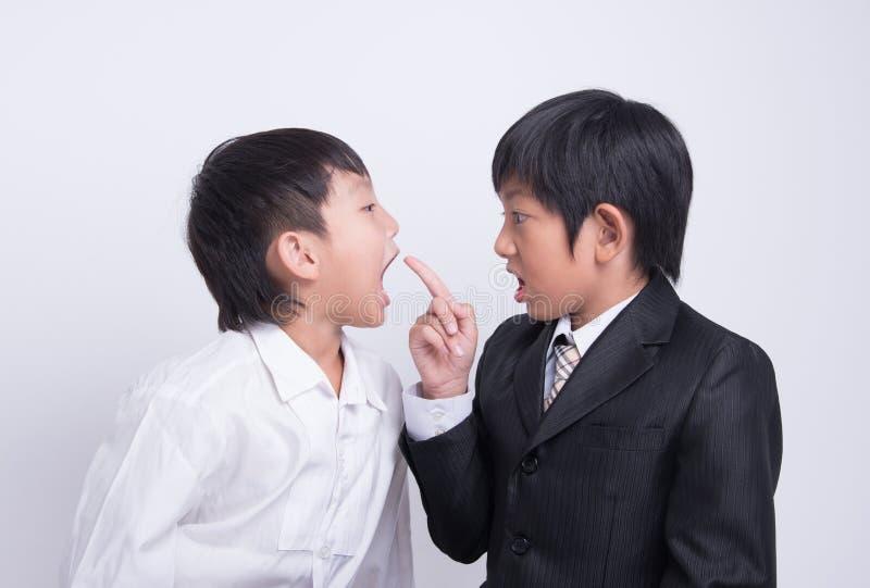 Asian boy staff boss. Blame complain wonder strain point businessman angry work stock photos