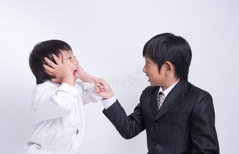 Asian boy staff boss stock image
