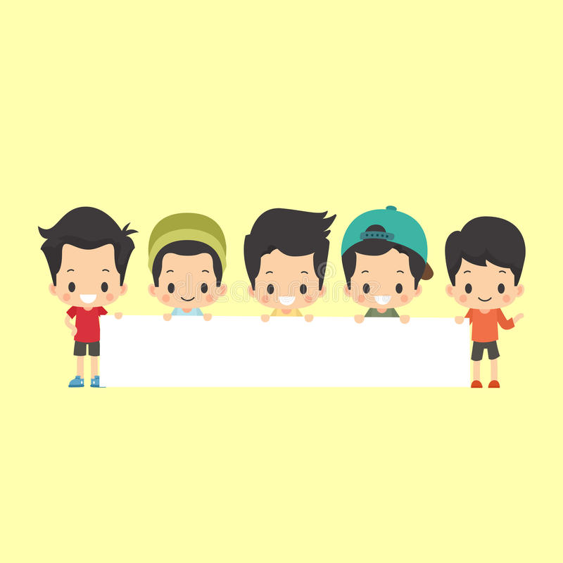 Asian Boys with Blank Banner. Asian boys welcoming with blank white banner royalty free illustration