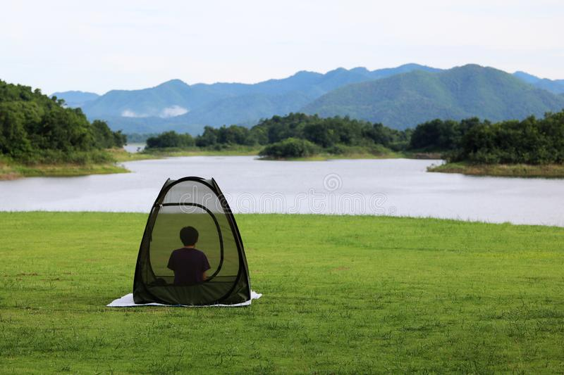 Asian Buddist people are prays meditations in the mesh dome or t stock photos