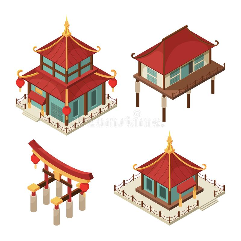 Asian buildings isometric. Chinese gate traditional japanese houses pagoda roof shintoism vector 3d architecture stock illustration