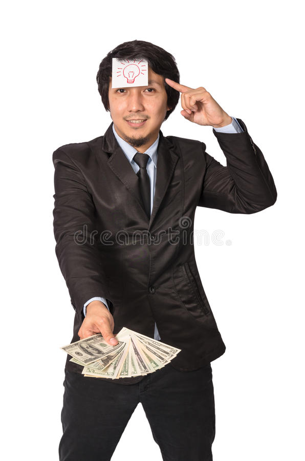 Asian Business getting the light bulb idea with earn the United. States Dollars (USD stock photography