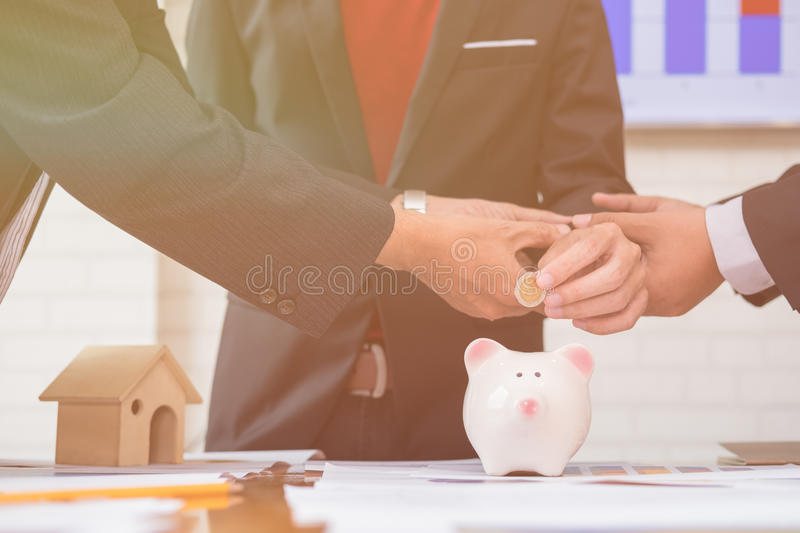 Asian business investors starting a financial stock image