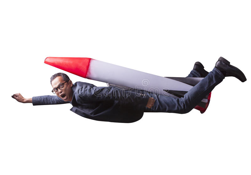 asian business man flying with rocket power isolated white background for speed and competition in leader ship concept stock photos