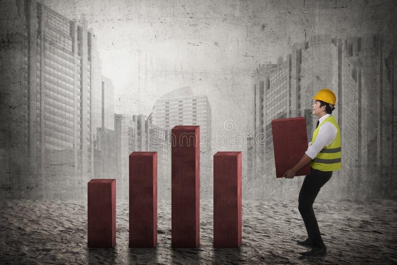 Asian business man lifting block chart royalty free stock photo