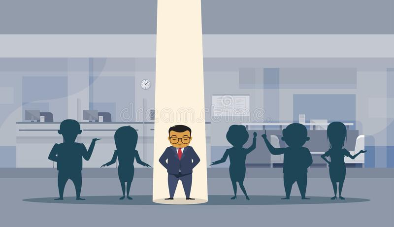 Asian Business Man With Spot Light Successful Busnessman Standing Out Silhouette Crowd Office Interior Background royalty free illustration