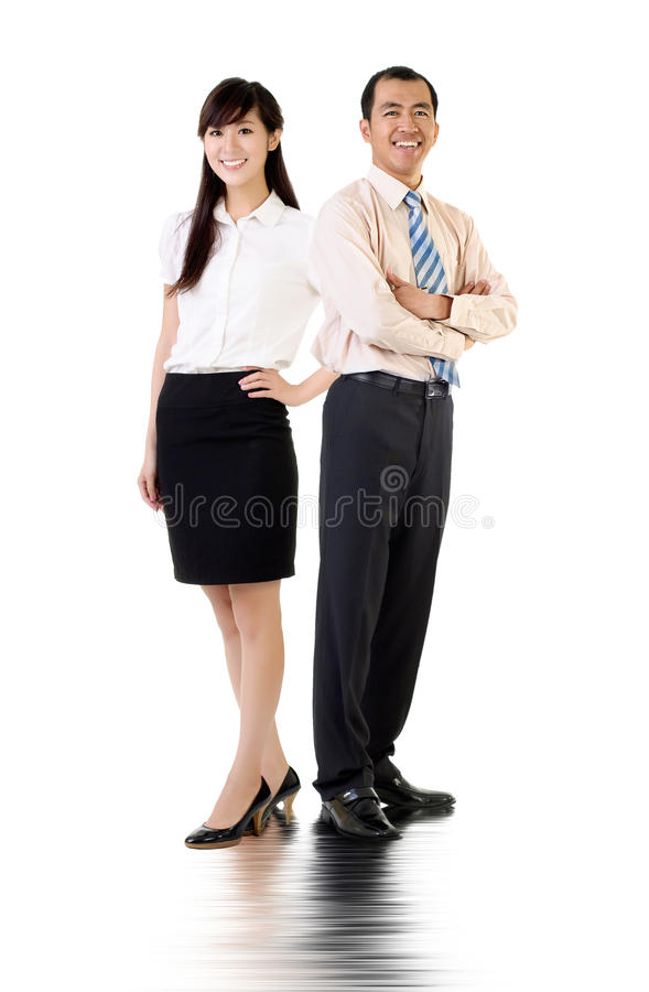 Asian business man and woman royalty free stock photography