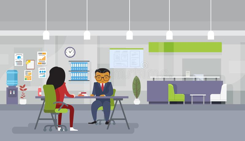 Asian Business Man And Woman Meeting Or Recruitment Interview Business People Sitting At Office Desk Discuss New Ideas. Flat Vector Illustration vector illustration
