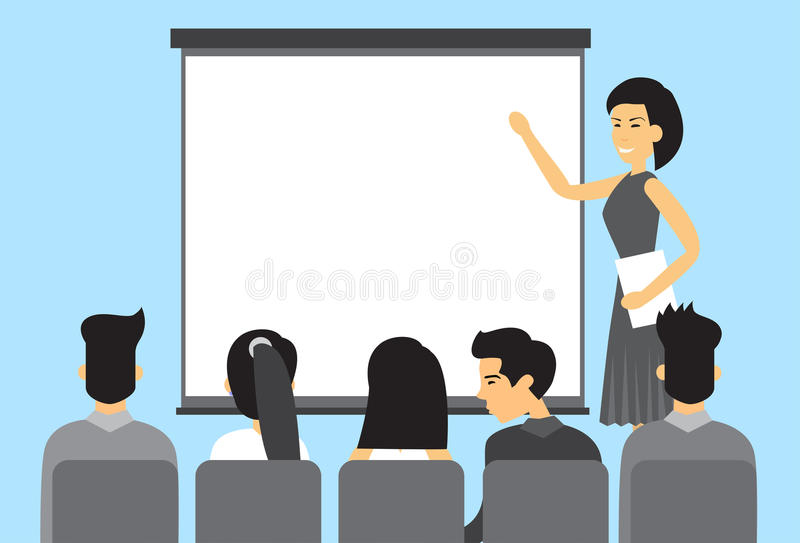 Asian Business People Group Presentation Asia Businesspeople Team Training Conference Meeting royalty free illustration