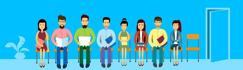 Asian Business People Group Sitting In Line Queue Door Asia Businesspeople Banner vector illustration