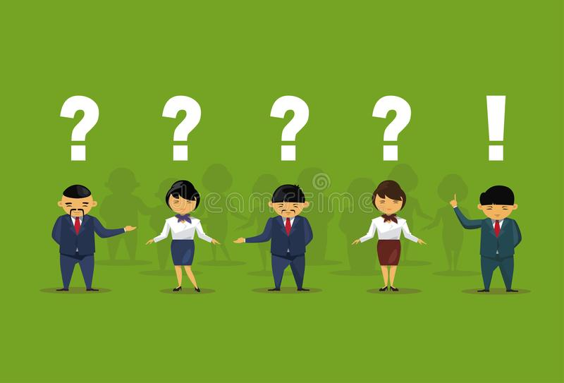 Asian Business People With Question And Exclamation Marks Over Green Background Chinese Office Workers Group. Flat Vector Illustration royalty free illustration