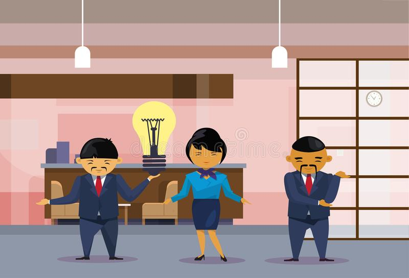 Asian Business People Team Holding Light Bulb New Idea Concept Creative Chinese Office Workers Group. Flat Vector Illustration royalty free illustration