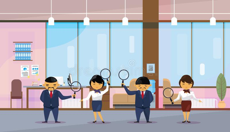 Asian Business People Team Holding Magnifying Glasses Office Interior Background Chinese Workers Group. Flat Vector Illustration stock illustration